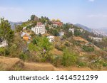 view of thrangu tashi yangtse monastery from above in namo buddha, dhulikhel, nepal