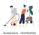 smiling young man and woman... | Shutterstock .eps vector #1414523426