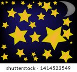 yellow stars on a black and... | Shutterstock .eps vector #1414523549