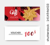 luxury gift vouchers set. red... | Shutterstock .eps vector #1414546433
