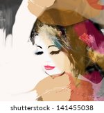 fashion woman. hand painted... | Shutterstock . vector #141455038