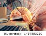 social network theme hologram... | Shutterstock . vector #1414553210