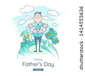 fathers day. banner with... | Shutterstock .eps vector #1414553636