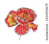 vector sketch red poppy on... | Shutterstock .eps vector #1414555679