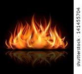 Fire On Dark Background. Vecto...