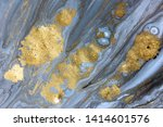 blue marbling pattern. golden... | Shutterstock . vector #1414601576