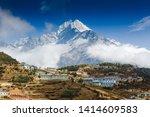 namche bazaar aerial view ... | Shutterstock . vector #1414609583