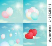 colorful balloons in the sky ... | Shutterstock .eps vector #1414628546