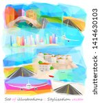 set of watercolor landscapes ... | Shutterstock .eps vector #1414630103