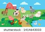 Farm Animals With Landscape  ...