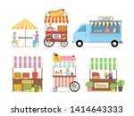 people selling street food and... | Shutterstock .eps vector #1414643333
