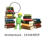 puppet with loupe and books.... | Shutterstock . vector #141465829