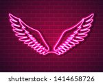 illustration of pink neon wings ... | Shutterstock . vector #1414658726