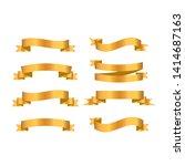 gold ribbon collection. golden...   Shutterstock .eps vector #1414687163