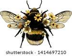 fluffy bumblebee in yellow top... | Shutterstock .eps vector #1414697210