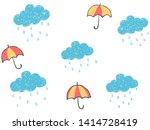 cute childish hand drawn blue... | Shutterstock .eps vector #1414728419