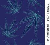 hemp leaves seamless repetitive ... | Shutterstock .eps vector #1414755029