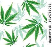 hemp leaves seamless repetitive ... | Shutterstock .eps vector #1414755056