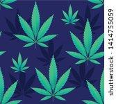 hemp leaves seamless repetitive ... | Shutterstock .eps vector #1414755059