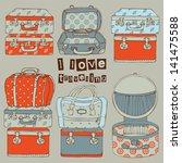 hand drawn travel bags vector... | Shutterstock .eps vector #141475588