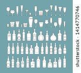 bottles and glasses line black...   Shutterstock .eps vector #1414770746