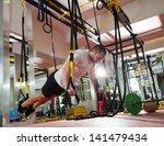 crossfit fitness trx push ups... | Shutterstock . vector #141479434