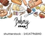 bread hand drawn set... | Shutterstock .eps vector #1414796840