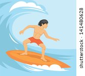 vector illustration of surfer... | Shutterstock .eps vector #141480628