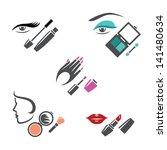 vector set of makeup symbols | Shutterstock .eps vector #141480634