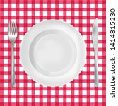 red checkered tablecloth with... | Shutterstock .eps vector #1414815230