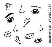 vector eyes  nose  mouth  ears  ... | Shutterstock .eps vector #1414837259