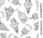 seamless ice cream pattern in... | Shutterstock .eps vector #1414880993