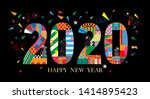 typography text 2020 font and... | Shutterstock .eps vector #1414895423