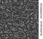 pet shop  seamless cut doodle...   Shutterstock . vector #1414900316