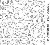 pet shop  seamless cut doodle...   Shutterstock . vector #1414900319