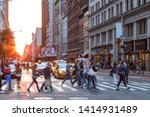 crowds of people in motion...   Shutterstock . vector #1414931489