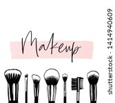 makeup banner with brushes ... | Shutterstock .eps vector #1414940609