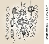 hand drawing lantern festival | Shutterstock .eps vector #141495274