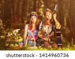 two young fashion girls with... | Shutterstock . vector #1414960736