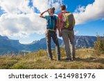 travelers hiking in... | Shutterstock . vector #1414981976