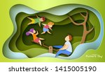 father with children swinging... | Shutterstock .eps vector #1415005190