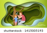 father measures the growth of...   Shutterstock .eps vector #1415005193
