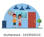 two young little kids girl... | Shutterstock .eps vector #1415010113