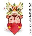 dragon head holding a badge.... | Shutterstock .eps vector #1415021540