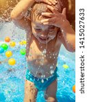 happy child in the pool ... | Shutterstock . vector #1415027633