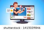 video review concept. blogger... | Shutterstock .eps vector #1415039846