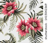 tropical vintage lotus flower ... | Shutterstock .eps vector #1415042369