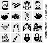 wedding vector icon set on gray | Shutterstock .eps vector #141506650