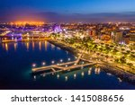 Limassol. Republic of Cyprus night panorama. Night Molos embankment. Limassol