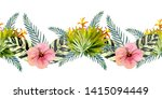 tropical leaves . repetition of ... | Shutterstock . vector #1415094449